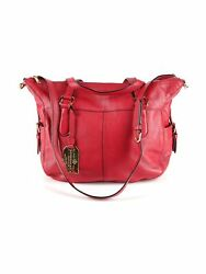 Lauren By Women Red Leather Satchel One Size