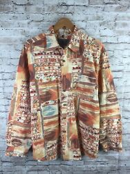The Territory Ahead Menand039s Large Multicolor Aztec Geometric Button Up Shirt