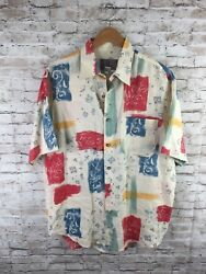 The Territory Ahead Menand039s Large 100 Linen Multicolor Floral Button Up Shirt