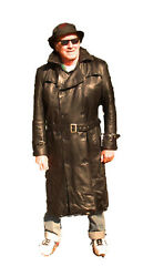 Cd D C Mens Nappa Sheepskin Leather Traditional Belted Long Trench Coat Black Xl