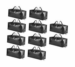 10 Pack Heavy Duty Extra Large Moving Bags With Handles, Backpack Straps And