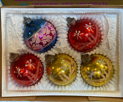 5 Vintage Glass Stencil Glitter Christmas Tree Ornaments Boxed West Germany