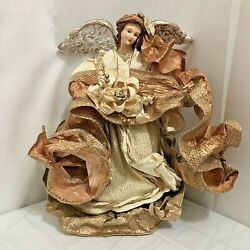Vintage Paper Mache Angel Christmas Tree Topper Golden 15 Tall Holiday Display