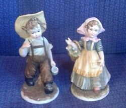Vintage Lefton China Handpainted Pair of Figurines Country Boy and Girl KW4243