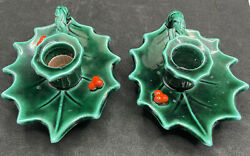Vintage Lefton Christmas Holly and Berries Candle Holders 2 #717 Japan