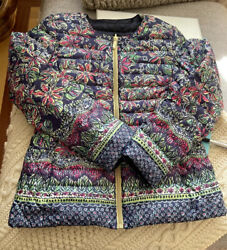 Euc Lilly Pulitzer Reversible Blue Floral Not Too Catty Lilah Quilted Parka Sz S