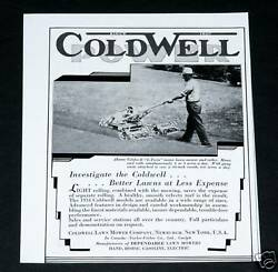 1934 Old Magazine Print Ad, Coldwell Twin Mowers, Better Lawns At Less Expense