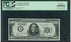 1928 $500 FR 2200 A BOSTON King of the High Denoms PPQ! Rarest 1928 $500-lowered