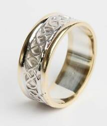 Gents 14k Gold Irish Hand Crafted Celtic Knot Wedding Band Ring 10mm wide