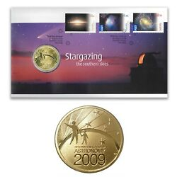 Australia 2009 Stargazing The Southern Skies Stamps And 1 Unc Coin Cover - Pnc