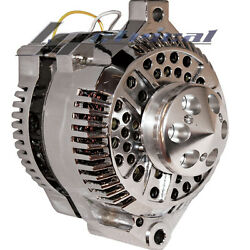 New High Output Chrome Alternator For Ford Lincoln Hotrod One 1 Wire 250 Amp