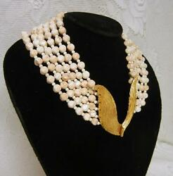 Brania Signed 6 Strand Lucite Beaded Necklace Haute Couture Gold Wing Medallion