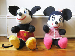 Lot 2x Early Stuffed Toy Mickey And Minnie Mouse Walt Disney Label 1940's Doll