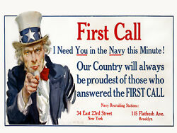 Vintage War POSTER.Uncle Sam Navy.Wall art Decor.Home interior decoration.1078 $11.00