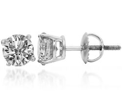 1.12 Ct F Si2 Round Cut Diamond Stud Earrings 14k White Gold
