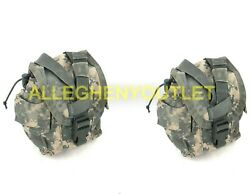 Lot Of 2 Us Army Molle 1 Qt Acu Canteen Cover Utility Gp Pouch Vgc / Excellent