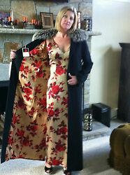 DOLCE GABBANA SILK FLORAL DRESS WITH MATCHING ANGORA FOX FUR COLLAR COAT SZ
