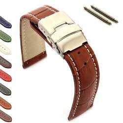 Menand039s Genuine Leather Watch Strap Band Deployment Clasp 18 20 22 24 26 Croco Mm
