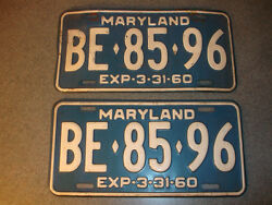 2 Old Vtg Antique Collectible Exp 3-31-1960 Maryland License Plates Be8596