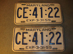 2 Old Vtg Antique Collectible Exp 3-31-59 Maryland License Plates Ce4122