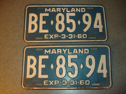 2 Old Vtg Antique Collectible Exp 3-31-60 Maryland License Plates Be8594