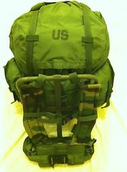 Large Alice Pack W/ Frame Military Issue Improved Woodland Camo Straps