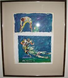 Leroy Neiman Original Mixed Media Oil Gouache NFL Commissioned Football Painting