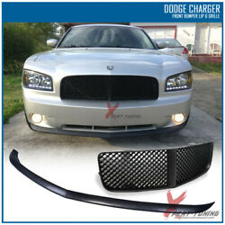 Fits 05-10 Dodge Charger Front Bumper Lip + Front Hood Mesh Grille - Pu