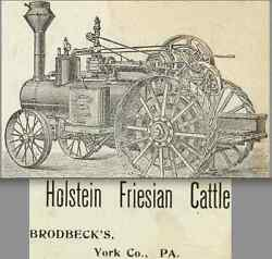 Brodbecks York Co Pa 1800's Frick Traction Tractor Myers Holstein Cow Trade Card
