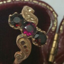 Victorian Ladies 10k Gold Band Ring Genuine Garnets, Late 1800s