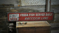 Personalized Fresh Fish Served Daily - Rustic Hand Made Vintage Wood Sign
