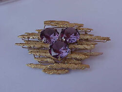 Estate Vintage 14k Yellow Gold  Huge Alexandrite Brooch-Pin Heavy 30.4gr 1950's