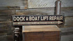 Personalized Dock And Boat Lift Repair Lake - Rustic Hand Made Vintage Wood Sign