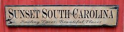 Custom Sunset State Wood Sign - Rustic Hand Made Vintage Wood Sign