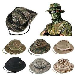 Bucket Hat Wide Brim Military Hats Sun Hat Boonie Hunting Fishing Outdoor Cap $8.89