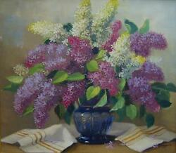 Vintage Oil Painting Lilacs In Blue Glass Vase Signed Pal Strauss Framed