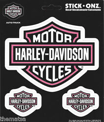Harley Davidson Motorcycles White With Pink Set Sticker Decal