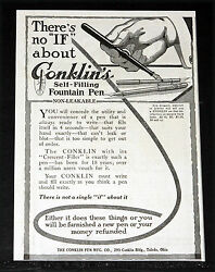 1916 Old Magazine Print Ad, Conklin Self-filling Fountain Pens, No If About It