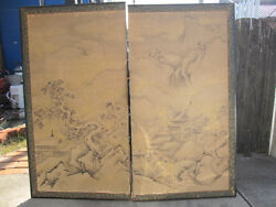 ANTIQUE original Japanese ART LARGE BYOBU 2p PANEL SCREN hand painting SUMI