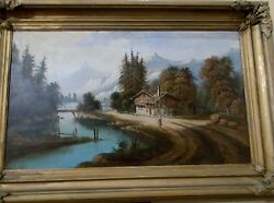 Landscape Chalet Woman By Water Antique Painting Oil On Canvas Mountains Estate
