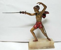 Art Deco Cold Painted Figure Of Lady Fencingc1920and039s Spelter Known As Peter Pan.