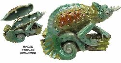 Horned Lizard Jeweled Trinket Box With Crystals, By Rucinni, Green