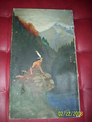 Old Native American Indian Painting Rare Woman Not Signed Old Rare Art