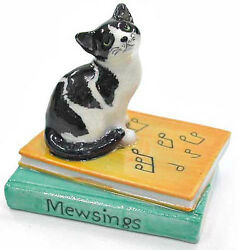 ➸ NORTHERN ROSE Miniature Figurine Black and White Cat Mewsings