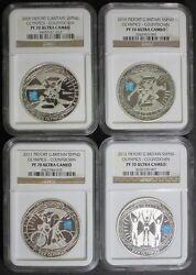 2009- 2012 Thick London Olympic Countdown Silver Piefort Ngc Pf70 Set 4 Coin