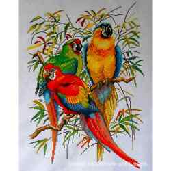 The Beautiful Parrots - 100% Hand Stitched