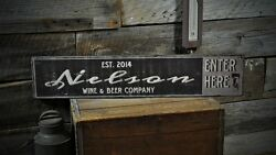 Custom Wine And Beer Co. Sign - Rustic Hand Made Vintage Wooden Sign