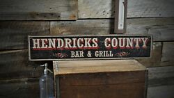 Custom County Bar And Grill Sign - Rustic Hand Made Vintage Wooden Sign