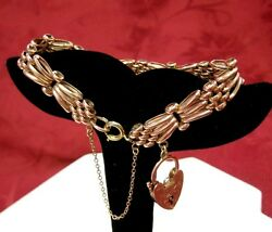 EDWARDIAN 1905 375 9K IRISH ROSE GOLD HEART LOCK CHARM SAFETY CHAIN BRACELET 7