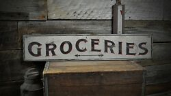 Primitive Aged Groceries Sign - Rustic Hand Made Vintage Wooden Sign